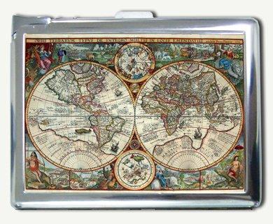 Antique Nova World Map Cigarette Case with Built-in Lighter