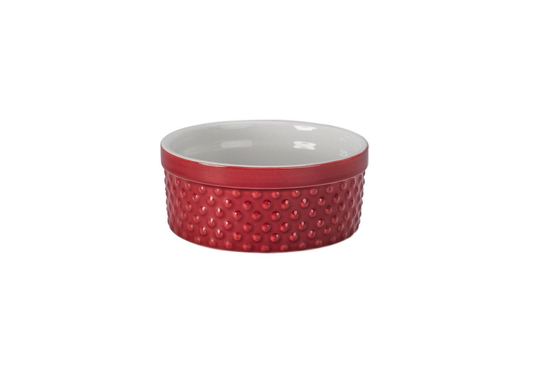 BIA Cordon Bleu 404946+767S1SIOC Textured Bakeware Round Souffle Dish, Red/White