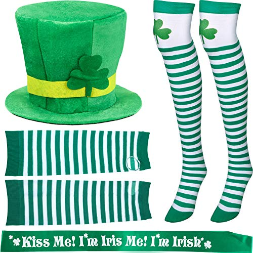 Chuangdi 6 Pieces St. Patrick's Day Parade Costume Accessories, St. Patrick's Day Hat and Shamrock Arm Sleeve, Striped Thigh Stockings and Irish Sash for Saint Patrick Party Costume (Unisex)]()