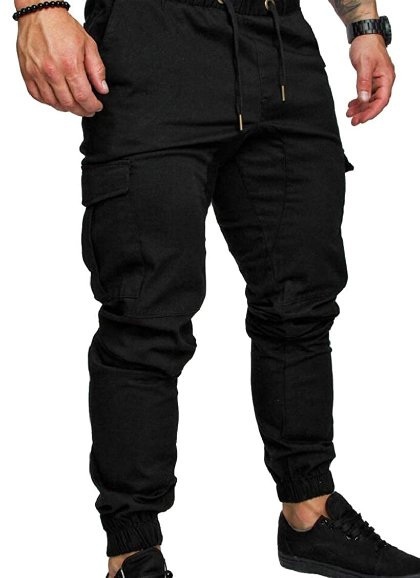 Hokny TD Mens Multi-Pockets Elastic Leisure Cargo Flat-Front Chino Pants