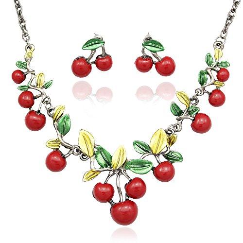 Q&Q Fashion Jubilee Romance Cherries & Leaf Bridal Gun Black Chain Bib Necklace + Earrings Set