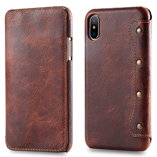 iPhone Xs Max Leather Case, Reginn Waxed Leather Folio with [Card Slot] [Cash Pocket] and [Stand Function] [Qi Charging Compatible] Leather Wallet Case for iPhone XS Max (Brown)
