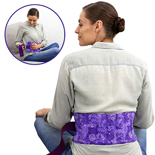 Nature Creation- Menstrual Cramps Reliever - Microwavable, Reusable, and Scented Abdominal/Back Pain Relief (Purple Flowers)