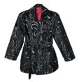 Robert Graham Men's Viareggio Smoking Jacket, Black Pattern, Small/Medium