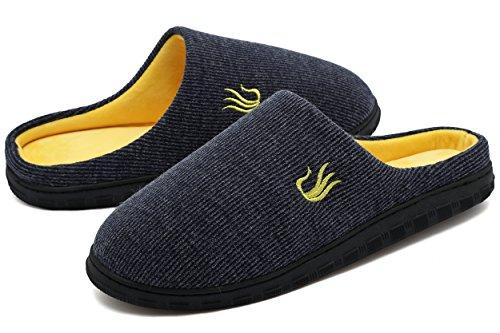 Pantoufles Hommes Welltree Deux Tons Mousse À Mémoire Chaud Chaussures W / Extérieur Unique Intérieur Bleu Marine / Jaune