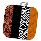 3dRose Janna Salak Designs Prints and Patterns - Orange Black and White Animal Print - Leopard and Zebra - 8x8 Potholder (phl_35442_1)