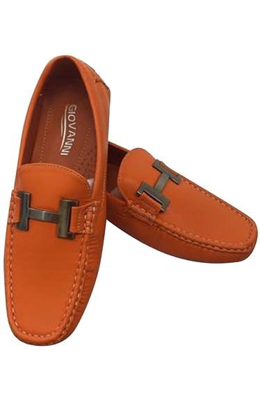 Men's Giovanni Loafer Dress Shoes Italian Style Slip On Orange with White Stitch 29510