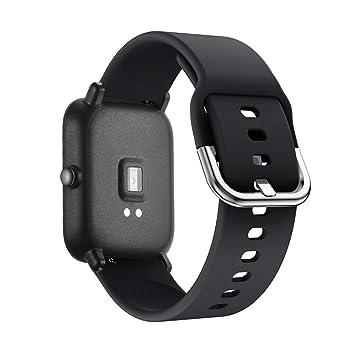 Saisiyiky Correa Pulsera Compatible con AMAZFIT Bip Xiaomi Huami Banda de Silicona/Ajustable para Smartwatch Reemplazo de Correa (Nergo)