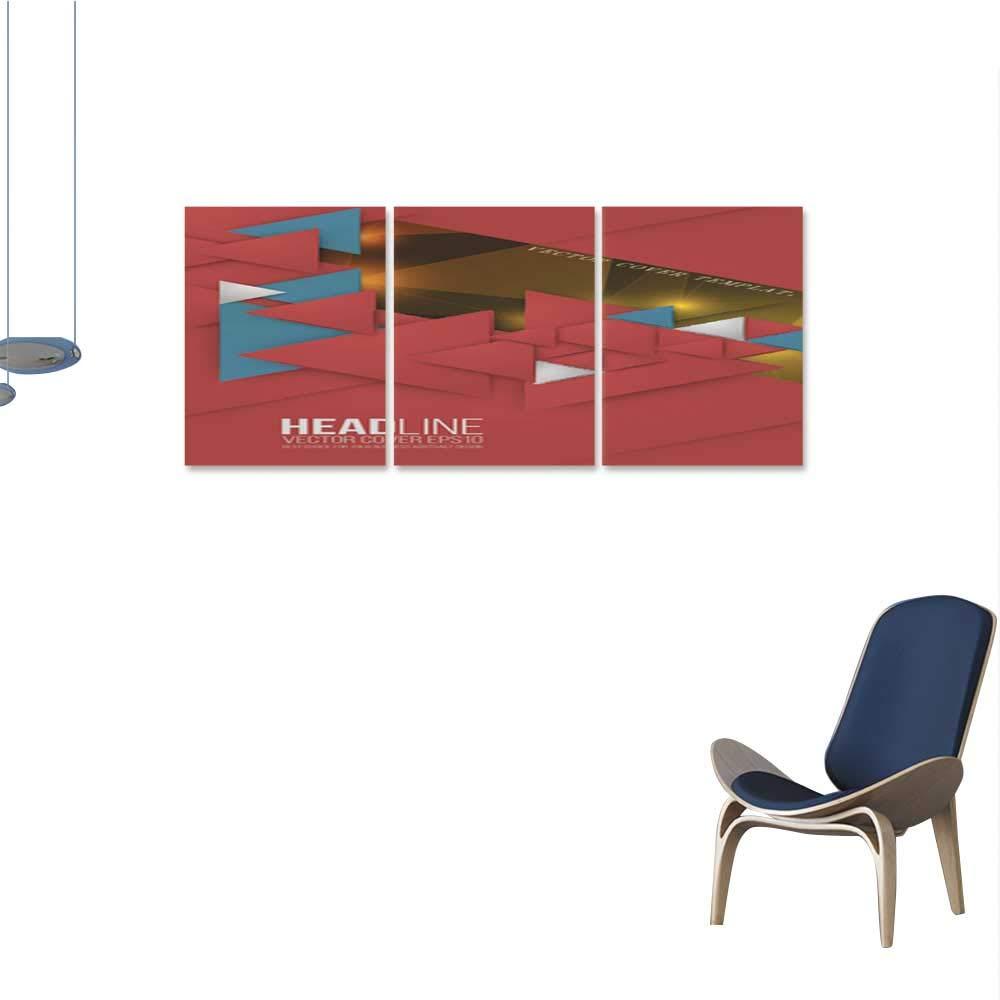 Unpremoon Wall paintingAbstract Triangle Brochure Flyer Leflet Design Vector Template in A 16''x32''x3pcs