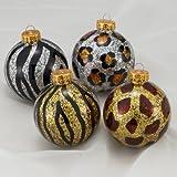 ANIMAL PRINT SPARKLING GLASS BALL CHRISTMAS ORNAMENTS