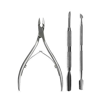 3 claveles cortauñas, Frontoppy Juego de pinzas para cutículas de acero inoxidable, removedor del