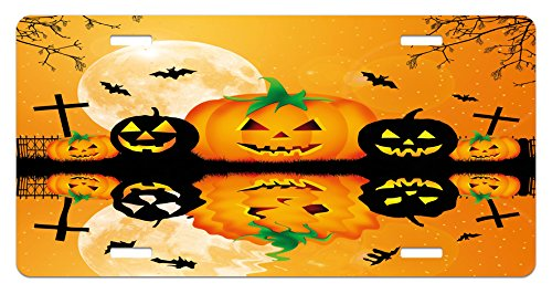 Ambesonne Halloween License Plate, Spooky Carved Halloween Jack o Lantern and Full Moon with Bats and Grave Lake, High Gloss Aluminum Novelty Plate, 5.88 L X 11.88 W Inches, Orange Black -