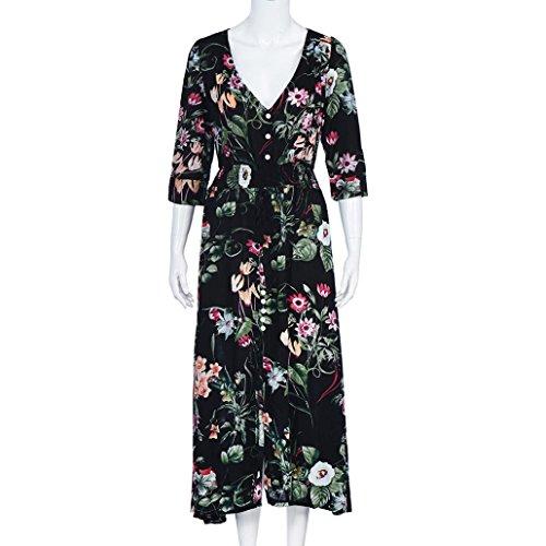 Kleid Transer® Damen Elegant Knöchel-Länge Kleider V Neck 3/4 Arm Sundress Outdoor Cocktail Schwarz Baumwolle Gemischt Gedrucktes Blumen Partykleider Gr.S-XL