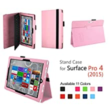 Hix Case for Microsoft Surface Pro 4 - PU Leather Folio Stand Cover with Stylus Holder for Surface Pro 4 12.3 Inch Tablet, Compatible with Surface Pro 4 Type Cover Keyboard (Pink)