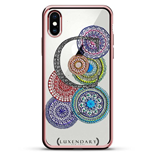 MANDALAS AND INITIAL C STYLE 5   Luxendary Chrome Series designer case for iPhone X in Rose Gold trim