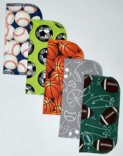 2 Ply Printed Flannel Washable. Sports Lovin- Set Napkins 8x8 inches 5 Pack - Little Wipes (R) Flannel ()