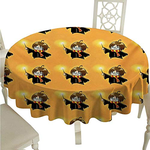 Wizard Elegance Engineered Christmas Tablecloth Cartoon Wizard Character with Glasses in Costume Frock with Magical Wand Print Indoor Outdoor Camping Picnic D36 Orange Black -