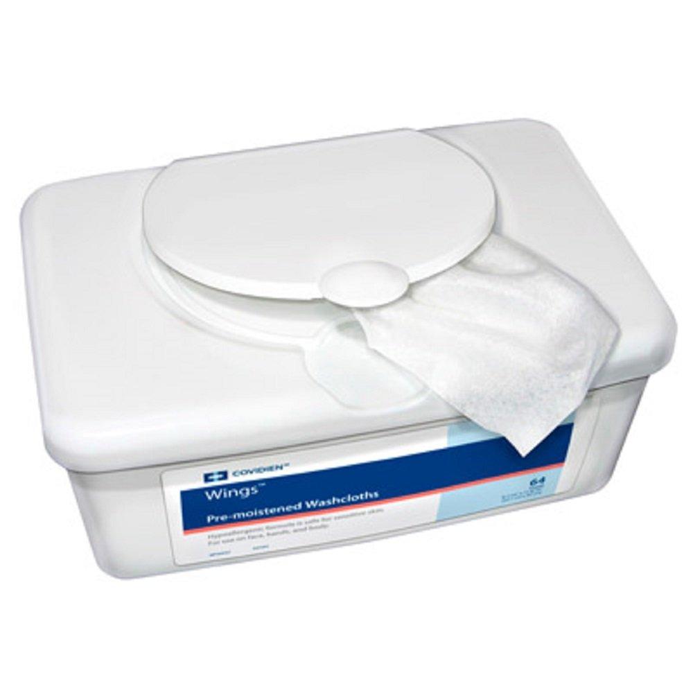 Units Per Case 512 Wings Premoistened Washcloths Cloth 9 1/2'' x 13'' KENDALL HEALTHCARE PROD. 6599N