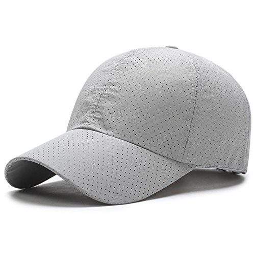 XARAZA Breathable Mesh Baseball Cap Tennis Hat for Women and Men (Light Grey)