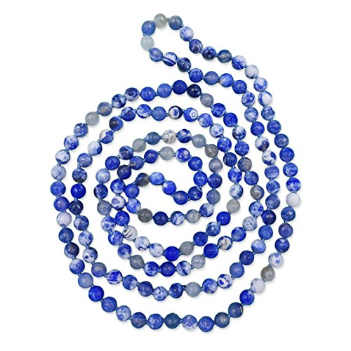 MGR 60-Inch Faceted Blue Fire Agate Stone Endless Infinity Long Beaded Necklace or Multi Strand Beaded Necklace.