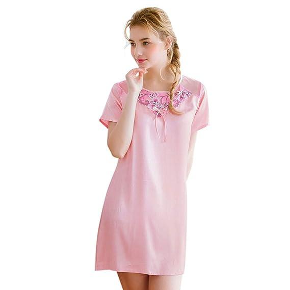 e82d25a41f7 Amazon.com  AIMTOPPY Womens Summer Satin Sleepdress Ladies Short Sleeve  Lace Nightdress Lingerie Sleepwear  Cell Phones   Accessories