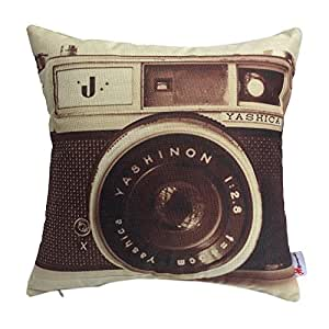 Monkeysell Pillow Cover Retro Camera Patterns Cotton Linen Decorative Throw Pillow Covers Pillow Case Cushion Cover Body Pillowcovers 18 x 18 Inches (1)