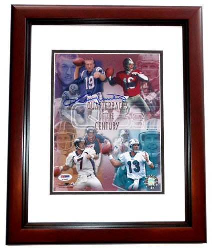 Johnny Unitas Autographed / Hand Signed Baltimore Colts 8x10 Photo - MAHOGANY CUSTOM FRAME (with Dan Marino, Joe Montana, and John Elway)