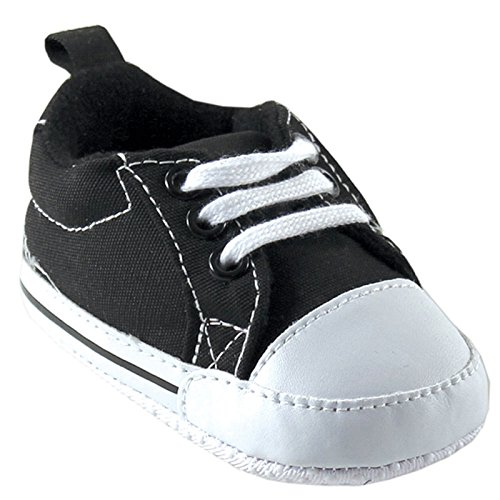 Luvable Friends Basic Canvas Sneaker, Black, 6-12 Months