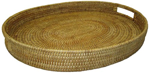 Artifacts Trading Company Rattan Medium Oval Tray with Cutout Handles, 18