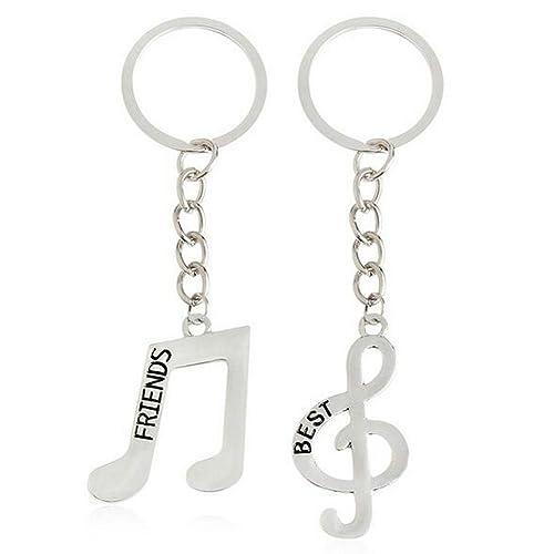 2pcs música Nota símbolo BFF mejores amigos collar llavero ...