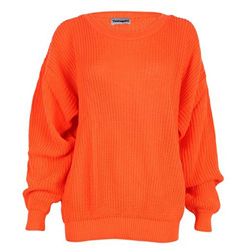 Velma Costume (FashionMark Womens Long Sleeves Knitted Baggy Style Oversize Plain Jumper Sweater)