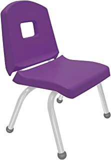 "product image for Creative Colors 1-Pack 12"" Kids Preschool Stackable Split Bucket Chair in Purple with Platinum Silver Frame and Ball Glide"