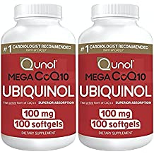 Qunol Mega 100 mg Coq10 Ubiquinol Superior Absorption Coenzyme Q10 Antioxidant Softgels, 100 Count, Pack of 2