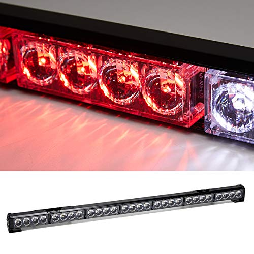 SmallfatW Red and White Traffic Advisor Led Strobe Light Bar Emergency Signal Light Warning Rear rooftop Construction Vehicles / Tow Trucks / Pick up Flash Directional Light Bar (32inch, ()
