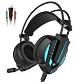 Honstek G9 Gaming Headset, USB and 3.5mm Stereo Surround LED Lighting Vibration Headphones with Microphone and Volume Control, Compatible for Laptop PC Computer (Black)