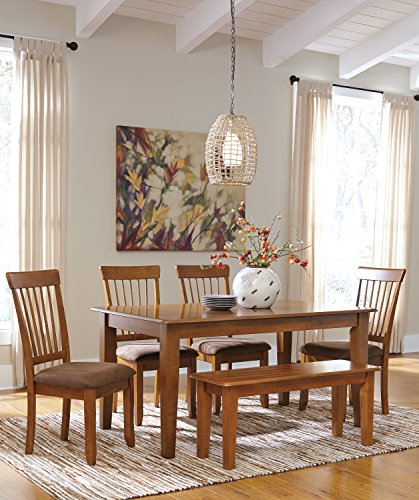 Berring 6-Piece Rustic Brown Dining Set, Rectangular Dining Room Table w/ 4 Upholstered Side Chair And Bench For Sale