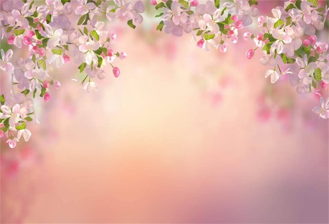 The Flower Backdrop-Yeele 8x10ft Photography Background Pink Flowers of Sakura Glitter Blurry Photo Backdrop Portrait Shooting Studio Props Wallpaper