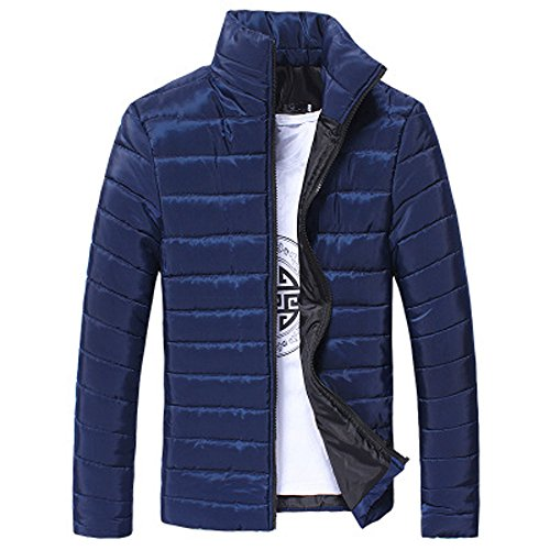 Men Jacket Down Parka Winter Coat Warm Outerwear Slim Thick Zipper Casual Premium Quality Jacket Cardigan Walking Outdoors Champion Countrywear Overcoat Blue