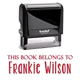 Red Ink, Self Inking Stamp. Personalized; This Book Belongs To, From The Library or A Bank Deposit Stamp! Customized Stamper. Fill In With Your Custom Information Into 2 Lines With Unique Font