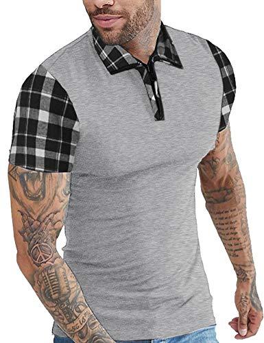 COOFANDY Mens Casual Short Sleeve Polo Shirts Slim Fit Zipper Plaid Polo T Shirts Gray ()