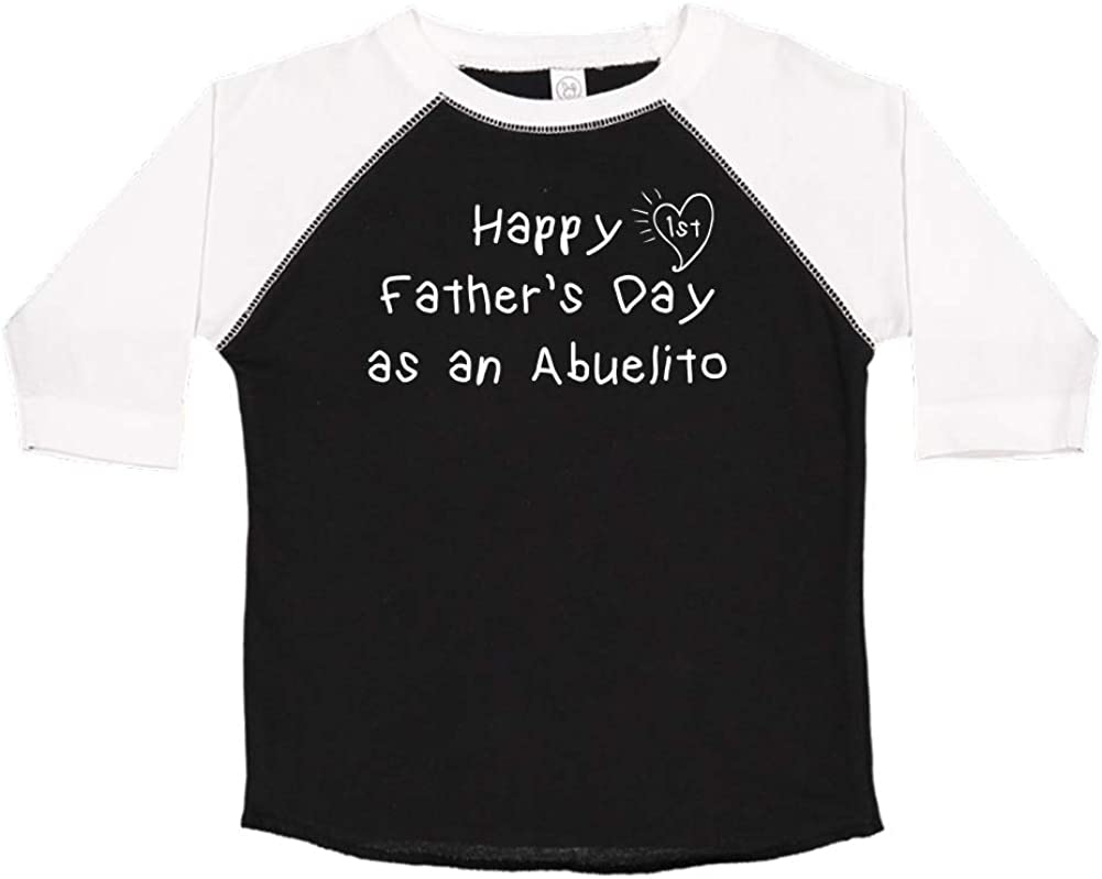 Happy 1st Fathers Day as an Abuelito Kids Handwriting Toddler//Kids Raglan T-Shirt