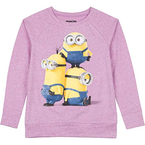 Despicable Me Girls' Long Sleeve Raglan Top Minion Stacked Christmas Shirt (Purple, 6-6X)]()