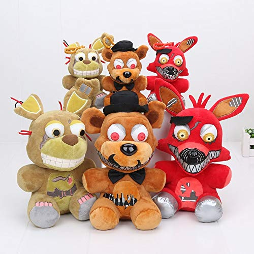 papeo Set 3 FNAF Plushies 5/9 inch Big Plush Figure Toy Small Stuffed Keychain Toys Doll Gift Christmas Halloween Birthday Gifts Cute Collection Collectible Fazbear for Kids Adults]()
