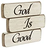 Heartwood Hollow Set of 3 5'' x 1.5'' Inspirational Engraved Wood Block Signs (God Is Good)