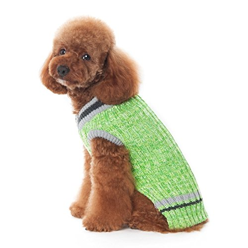 Dogo City V-Neck Dog Sweater - Green (Extra Extra Small) by DOGO 100