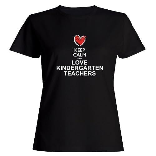 Idakoos Keep calm and love Kindergarten Teachers chalk style Maglietta donna