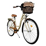 Milord. 2018 City Comfort Bike with Basket, Ladies Dutch Style, 1 Speed, Brown, 28 inch