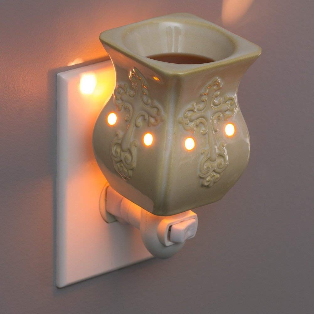Plug-In Fragrance Wax Melt Warmers (Antique White Ceramic Accent)