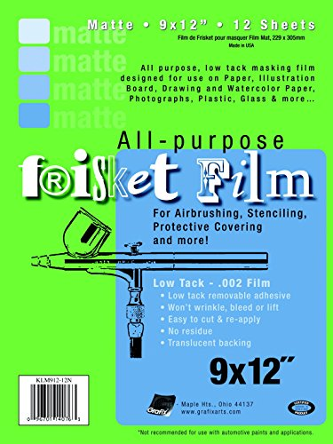 Frisket Film Matte - Grafix Multi-Purpose Low Tacking Frisket Film, 9 X 12 in, 0.002 in Thickness, 12 Sheets, Matte, Pack of 12