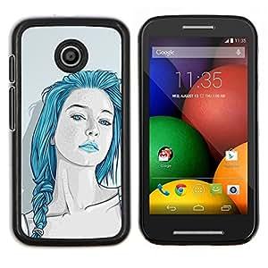 Cubierta protectora del caso de Shell Plástico || Motorola Moto E ( 1st Generation ) || Azules hermoso pelo Labios sensuales @XPTECH